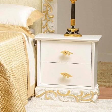 Komoda drewniana z 2 szufladami z złotymi dekoracjami Kush