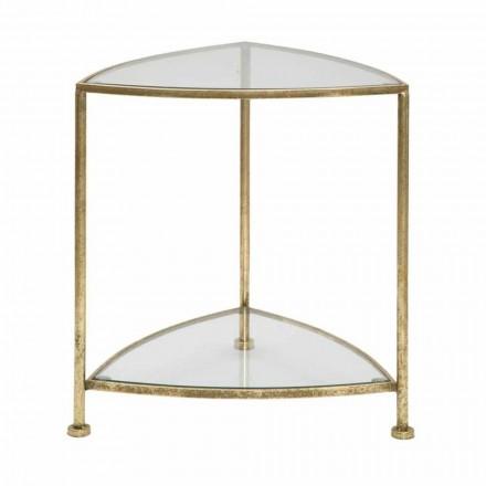 Nowoczesny trójkątny stolik nocny z żelaza i szkła - Kira