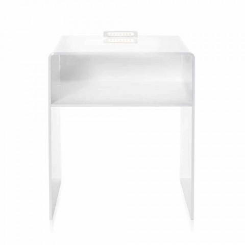 Biały stolik nocny z oświetleniem dotykowym LED Adelia