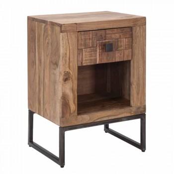 Designerski stolik nocny z szufladą z drewna akacjowego i żelaza - Dionne