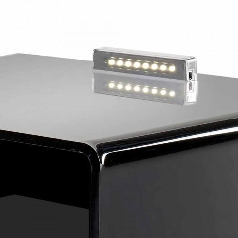 Czarny stolik nocny z oświetleniem dotykowym LED Adelia, wyprodukowanym we Włoszech