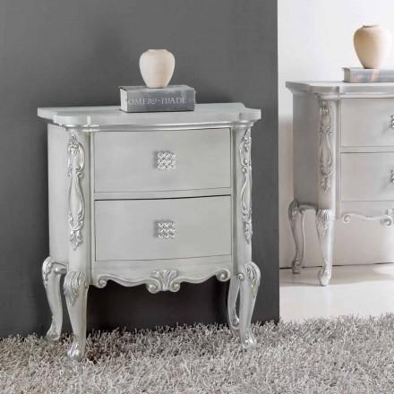 Stolik nocny klasyczny z litego drewna z kryształowymi uchwytami Bone