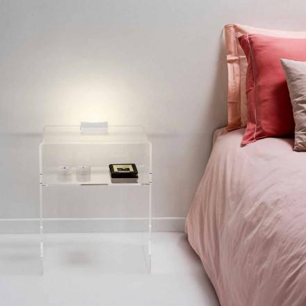 Przezroczysty stolik nocny z podświetlanym diodowo światłem dotykowym Adelia