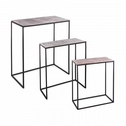 Kompozycja 3 stoliki kawowe z aluminium i stali Homemotion - Salvio