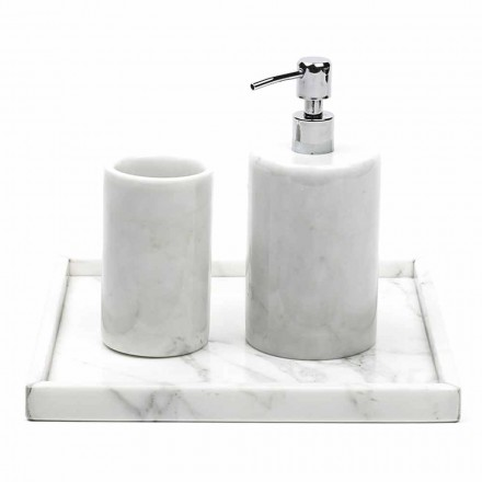 Skład Akcesoria łazienkowe z białego marmuru z Carrary Made in Italy - Tuono