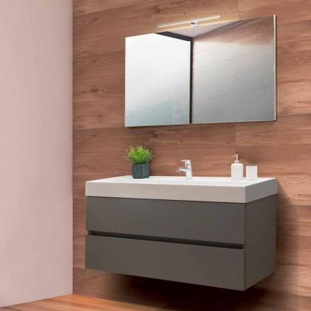 Szafka łazienkowa 120 cm, lustro i umywalka - Becky