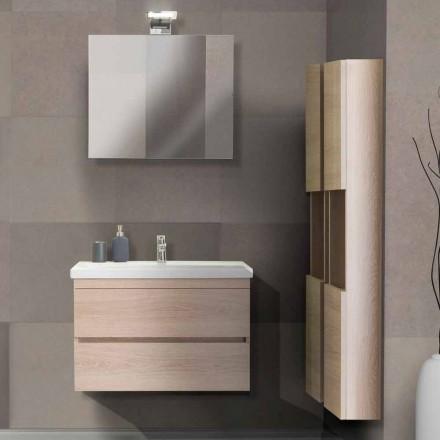 Szafka łazienkowa 80 cm, umywalka, lustro i 2 kolumny - Becky