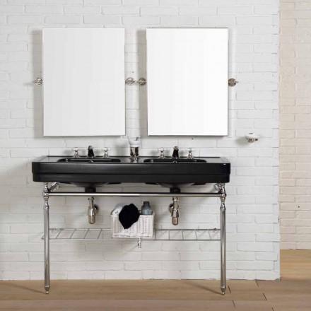 Meble łazienkowe czarne podwójna umywalka z konstrukcją Double