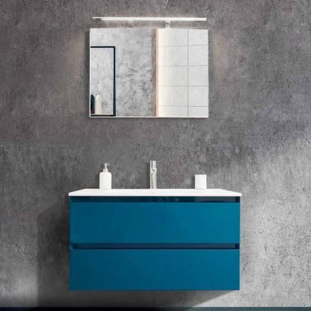 Szafka łazienkowa 90 cm, nowoczesna umywalka i lustro - Becky