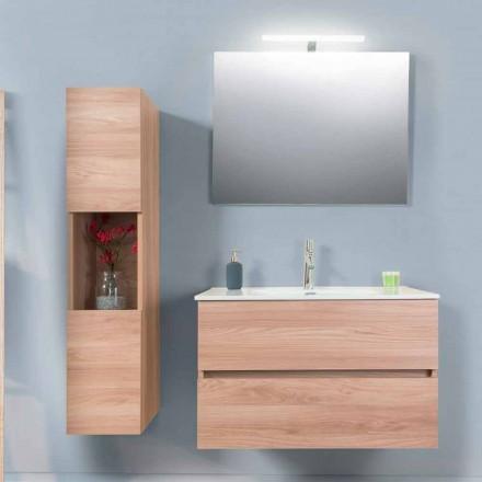 Szafka łazienkowa 90 cm, umywalka Wah, lustro i kolumna - Becky