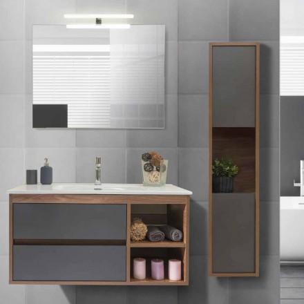 Szafka łazienkowa 100 cm, umywalka, lustro i kolumna - Becky