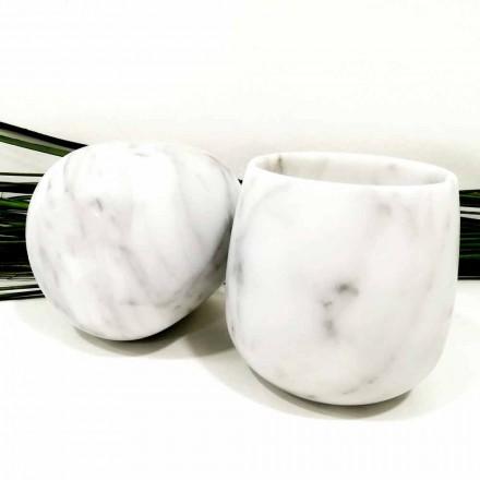 Kompozycja 2 szklanek z białego marmuru z Carrary Made in Italy - Dolla