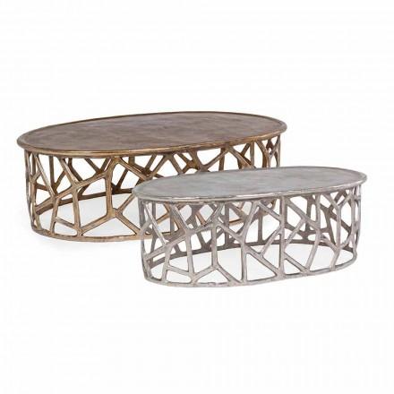 Kompozycja 2 aluminiowych stolików kawowych Homemotion - Solomon