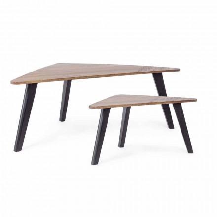 Kompozycja 2 nowoczesnych drewnianych stolików kawowych Homemotion - Nigola