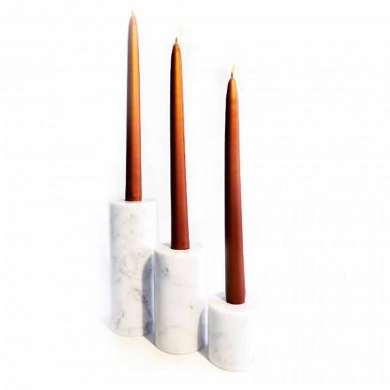 Kompozycja 3 świeczników z białego marmuru z Carrary Made in Italy - Astol