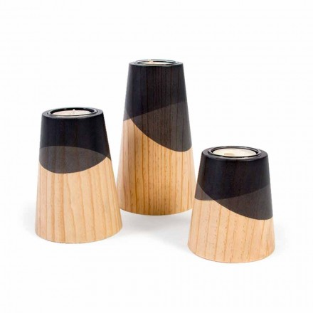 Kompozycja 3 nowoczesnych świeczników z litego drewna sosnowego - biały