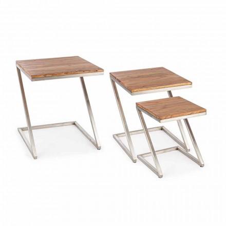 Kompozycja 3 drewnianych stolików kawowych Homemotion Square - Fonzi