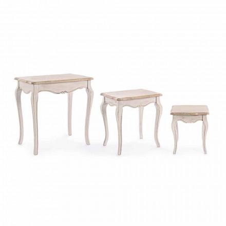 Kompozycja 3 klasycznych drewnianych stolików kawowych Homemotion - Classic