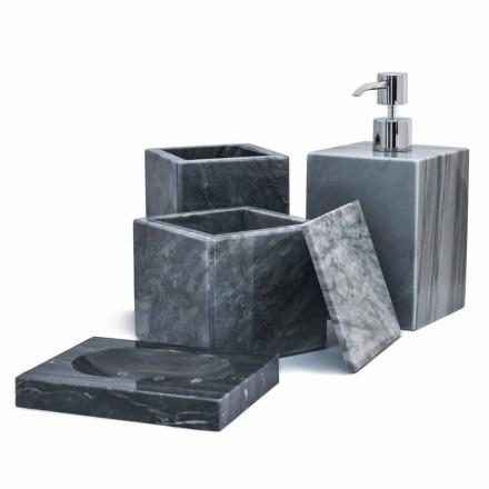 Kompozycja marmurowych akcesoriów łazienkowych Made in Italy, 4 sztuki - Deano