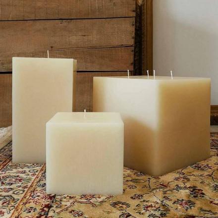 Kompozycja kwadratowych świec woskowych Made in Italy, 3 sztuki - Mondelle