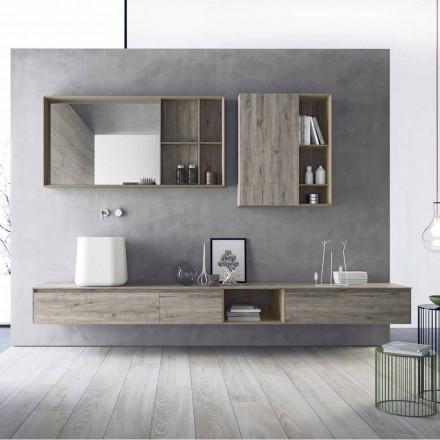 Kompozycja nowoczesnych mebli łazienkowych, podwieszana konstrukcja Made in Italy - Callisi6