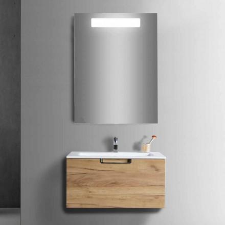 Kompozycja łazienkowej szafki toaletowej z drewna i nowoczesnego lustra - Gualtiero