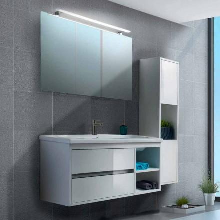 Szafka łazienkowa 100 cm, lustro, umywalka i kolumna - Becky