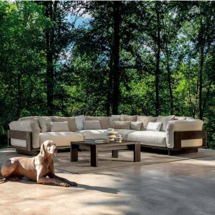 Kompozycja na zewnątrz z luksusową drewnianą sofą narożną - Argo od Talenti