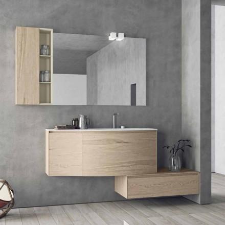 Zawieszona i nowoczesna kompozycja do łazienki, wykonana we Włoszech Design - Callisi4