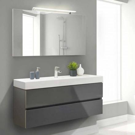 Szafka łazienkowa 140 cm, umywalka i lustro - Becky