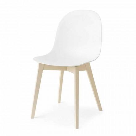 Connubis Calligaris Academy krzesło z podstawą z litego drewna, 2 szt