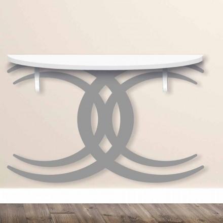 Konsola naścienna o nowoczesnym designie z białego i szarego drewna - Coco