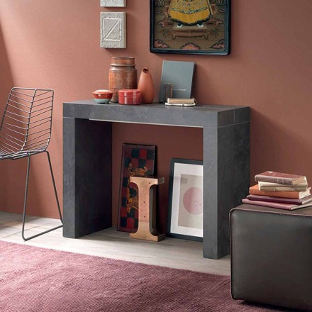 Wysuwana konsola stołowa do 290 cm z drewnianym blatem Made in Italy - Seregno