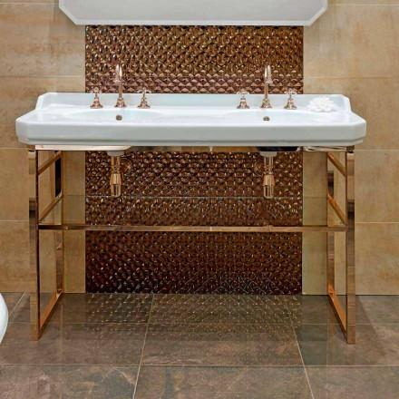 Konsola łazienkowa L 135 cm z podwójną miską ceramiczną ze stopami - Nausica