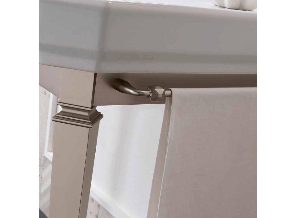 90 cm Zabytkowa konsola łazienkowa, biała ceramika, z nóżkami Made in Italy - Nausica