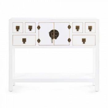 Biała lub czarna konsola z Mdf z 2 drzwiami i 6 szufladami w stylu vintage - Ginepro