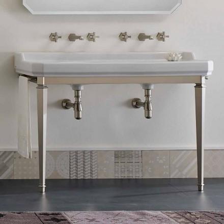 Konsola łazienkowa L 135 cm z podwójną miską ceramiczną Made in Italy - Nausica