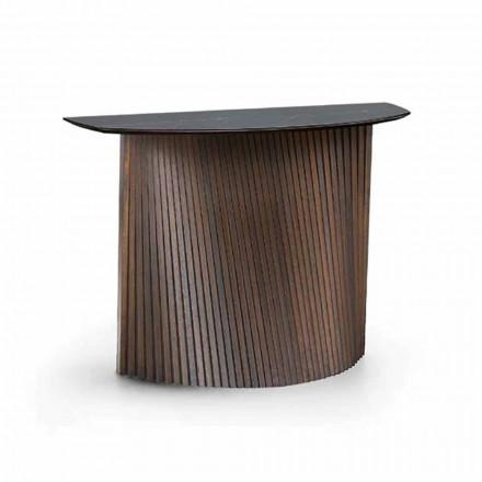 Luksusowa drewniana konsola z marmurowym blatem z kamionki Made in Italy - Oxide