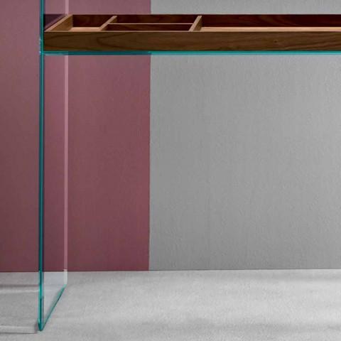 Designowana konsola z wyjątkowo przezroczystego szkła z tacką Made in Italy - Imperative