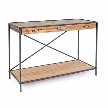 Konsola z drewna sosnowego i szkła w stylu industrialnym - Frigerio