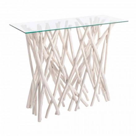 Consolle z bielonego drewna tekowego i luksusowego szklanego blatu - Francesca