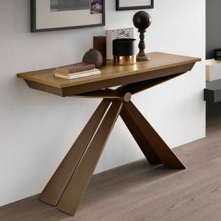 Konsola stołowa z drewna i metalu z możliwością przedłużenia do 295 cm Made in Italy - Timedio