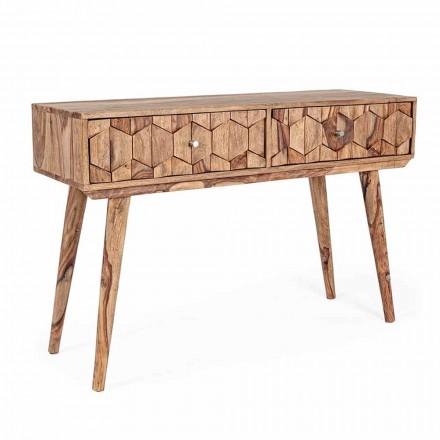 Konsola z drewna Sheesham z dwiema szufladami w stylu etnicznym Homemotion - Fregene