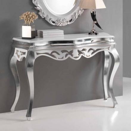 Konsola klasyczna z drewna, wykończenia srebro z bielą model Creti