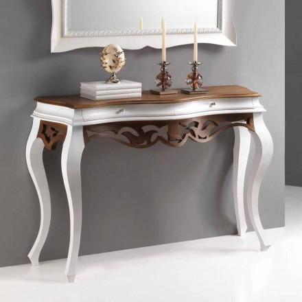 Konsola klasyczna z drewna antyczna biel i orzech model Creti