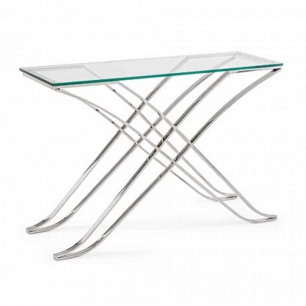 Konsola ze szkła hartowanego i stalowej podstawy Nowoczesny design Homemotion - Zafira