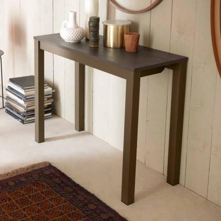 Wysuwana nowoczesna konsola stołowa z drewna dębowego i metalu Made in Italy - Nappo