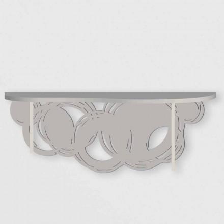 Konsola o nowoczesnym designie z piasku i beżowego drewna do montażu na ścianie - Orbit