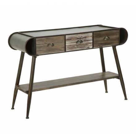 Nowoczesna prostokątna konsola z żelaza i drewna - Marek