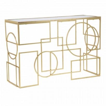 Prostokątna konsola o nowoczesnym designie z żelaza i lustra - Billie